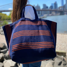 Load image into Gallery viewer, Oversized tote dark blue/orange