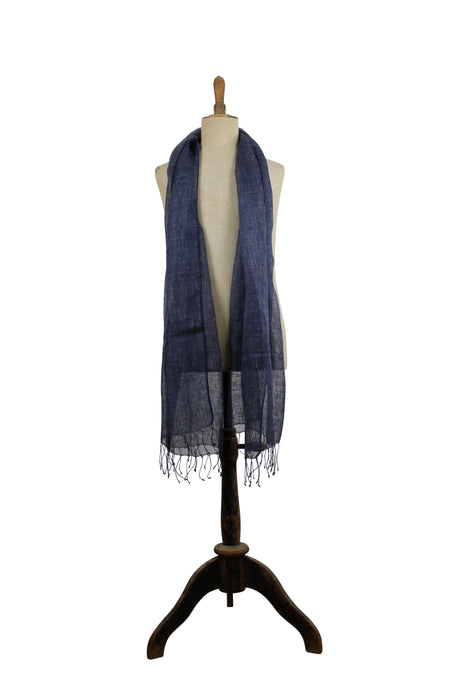 Linen  scarf with fringes - dark blue
