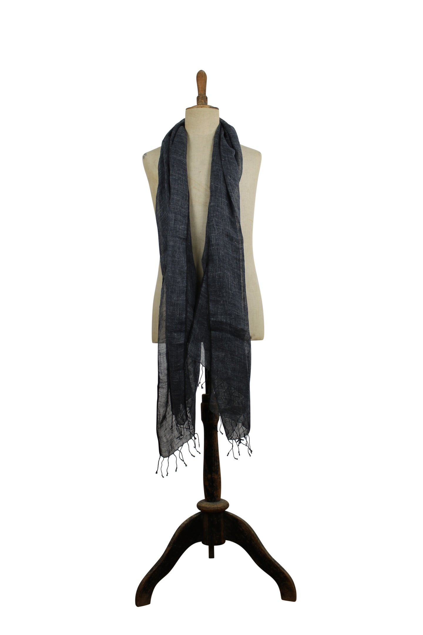 Linen  scarf with fringes - dark gray