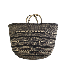Load image into Gallery viewer, Black and natural handwoven basket