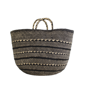 Black and natural handwoven basket