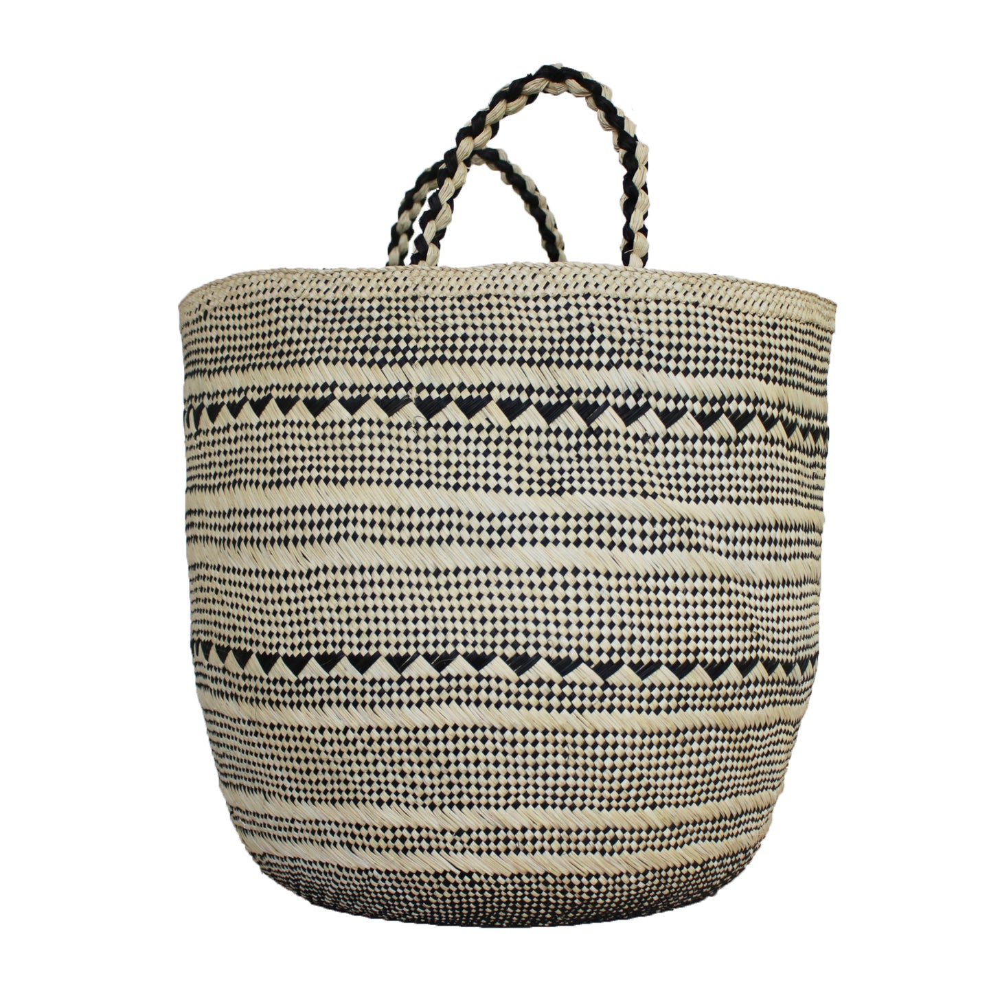 Large Natural/Black Palm Basket