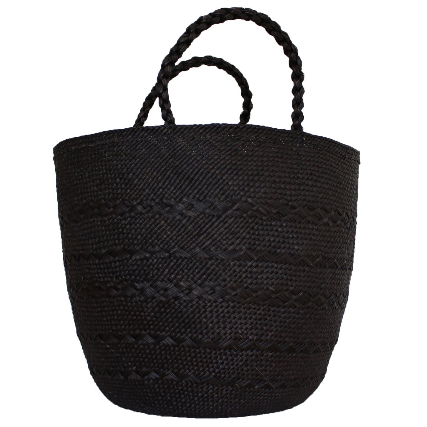 Large Black Iraca Palm Basket