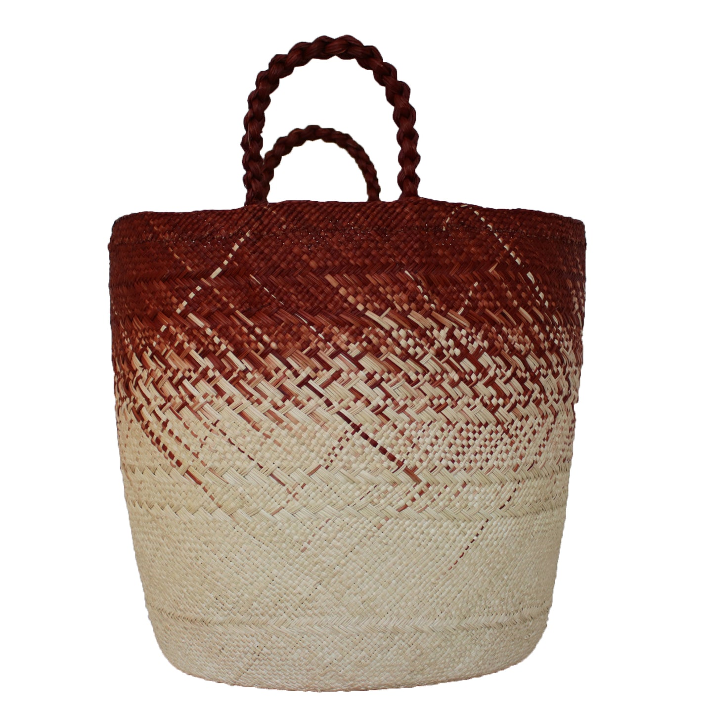 Large Brick Red/Natural Basket with solid handles
