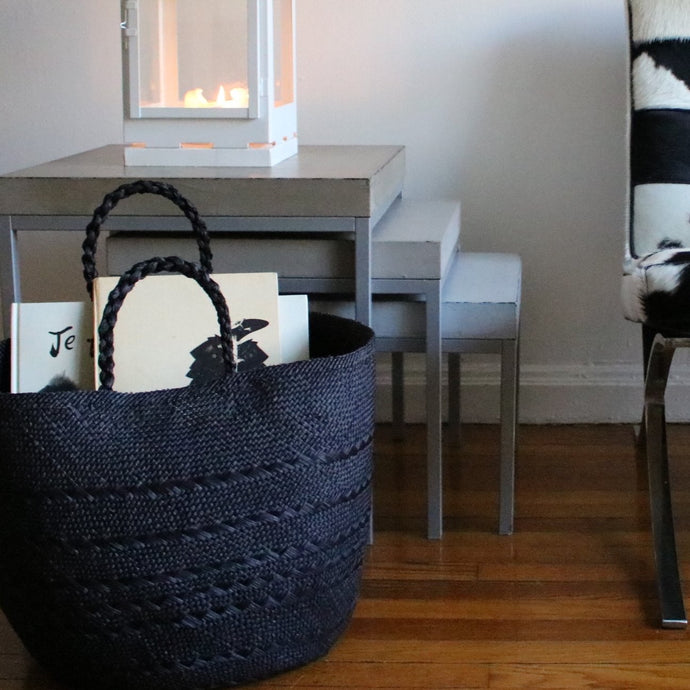 Black handwoven basket