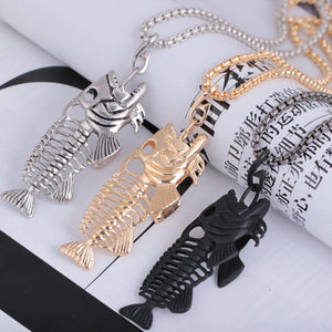 Fishbone Pendant Necklace