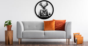 Round Deer Custom Name Metal Wall Art