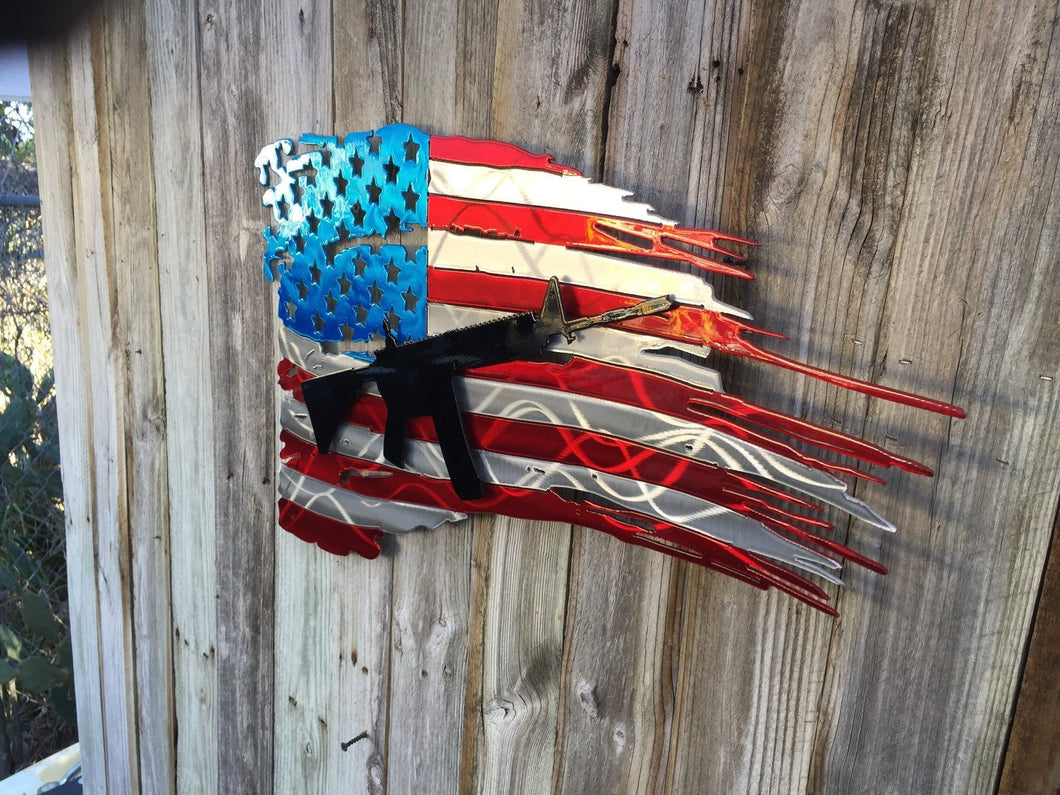 United States Flag with AR15 second layer