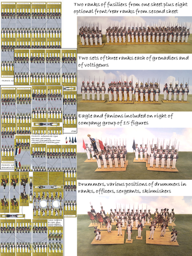 France: Line Infantry in Trousers, 1812-15 (15 figures per company including eagle)