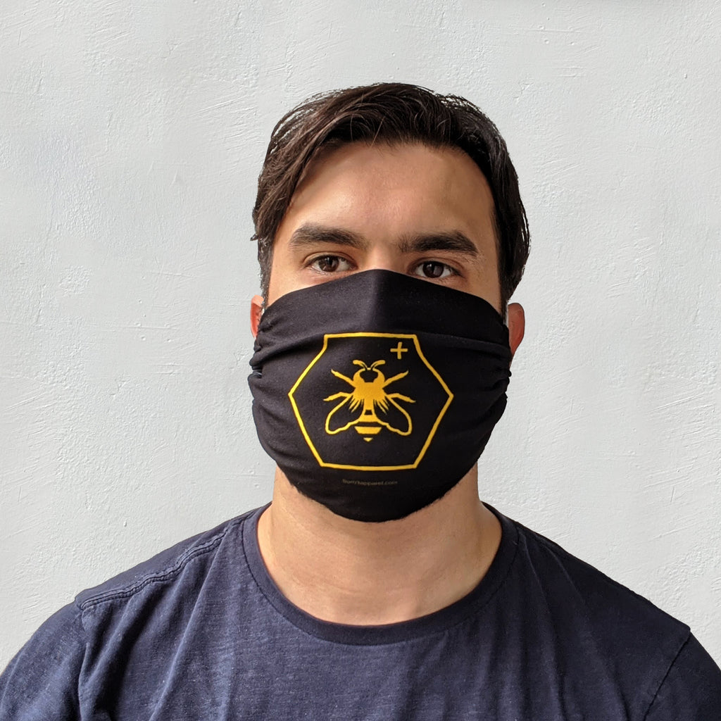 Bee positive head loop mask model front