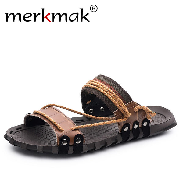 a7add2585a67 Merkmak Casual Brand Handmade Men Slippers Beach Shoes Summer Fashion  Genuine Leather Slides for Vacation 2018 ...