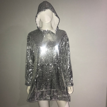 Load image into Gallery viewer, SEQUIN HOODIE DRESS