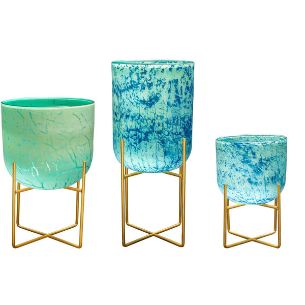 Hand Blown Glass Planters with Stands, Aqua