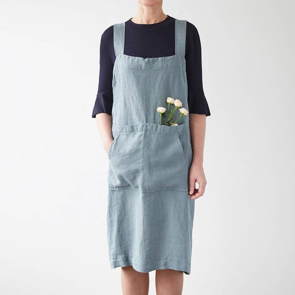 Pinafore Apron in Blue Fog