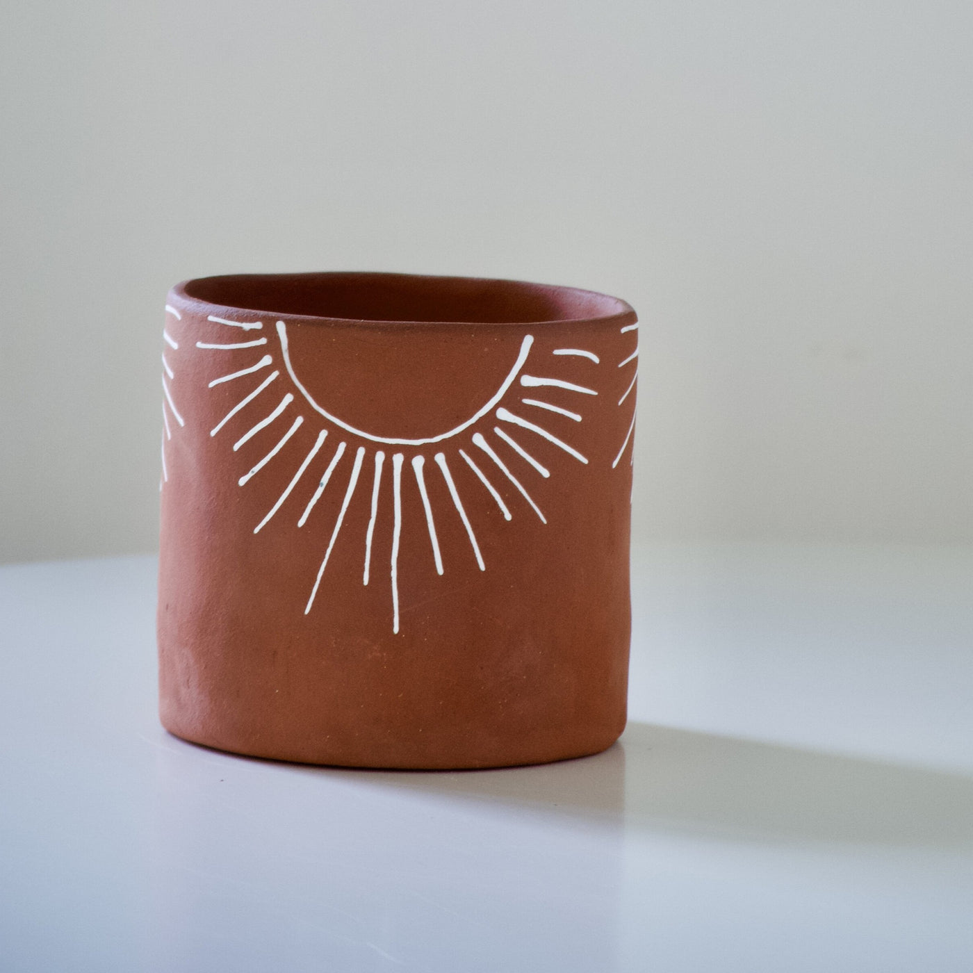 Kelsey Melville Ceramics: Sunburst Planter in Terracotta