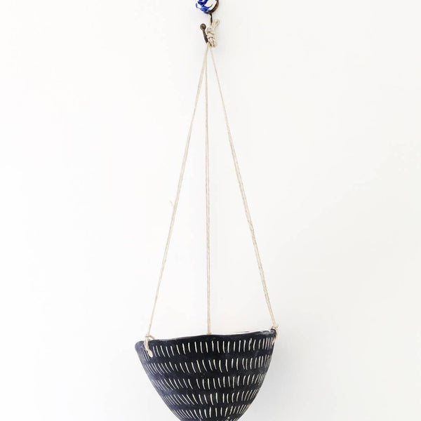 Dash Hanging Planter in Black + White
