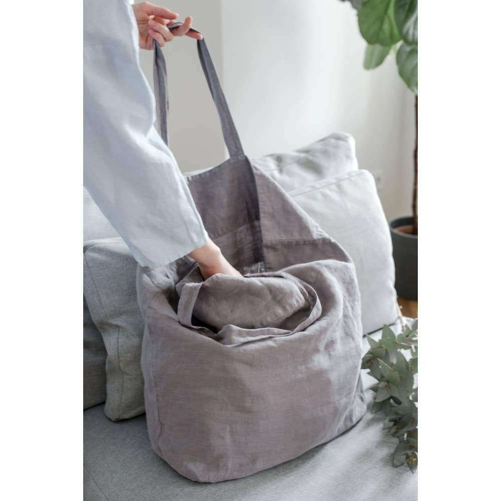 Large Linen Tote in Ash