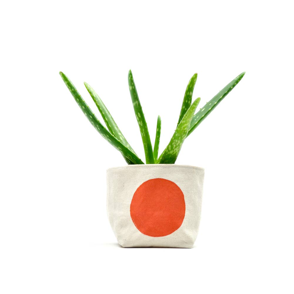 Gray Green Goods: Canvas Planter in Orange Dot