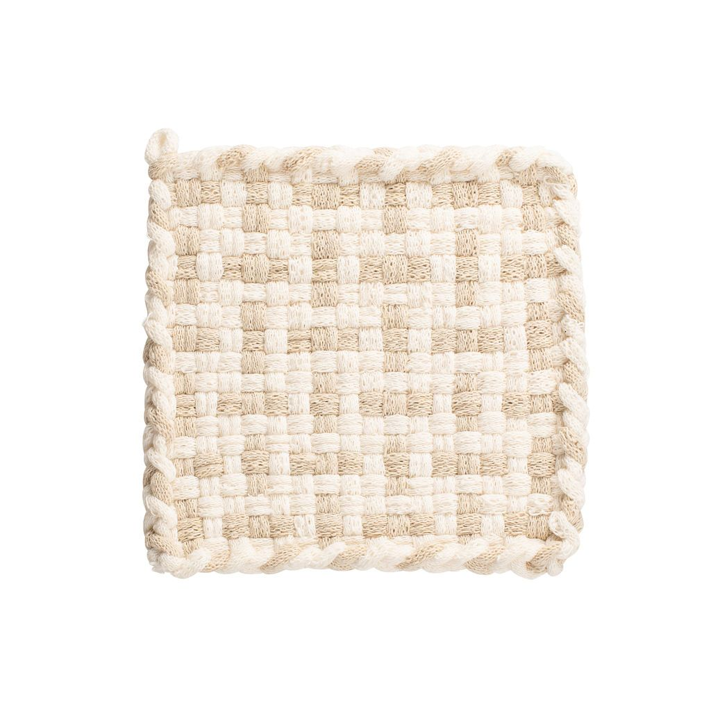 Kate Kilmurray: Handwoven Potholders in Seedling Collection Winter White & Flax