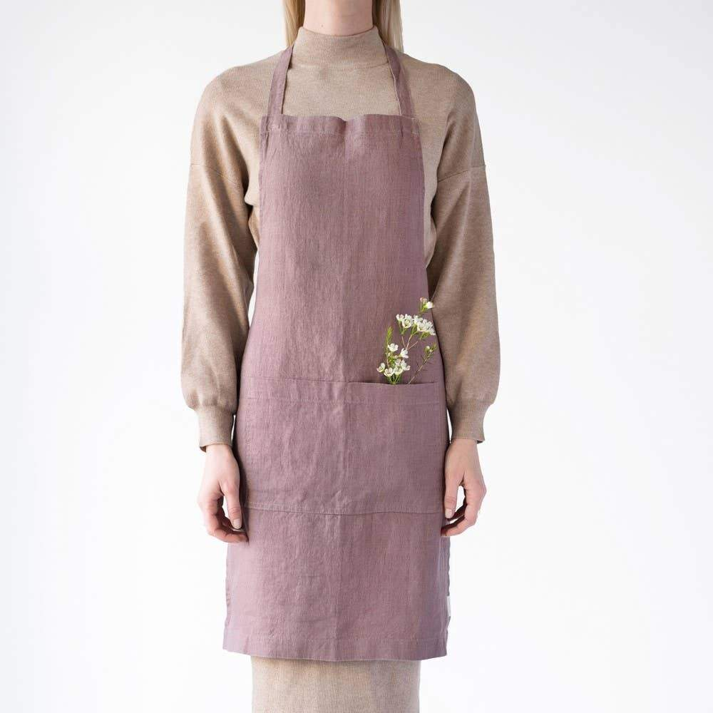 Linen Apron in Ashes of Roses