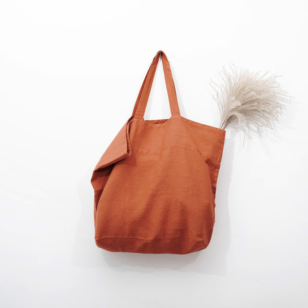 Large Linen Tote in Baked Clay
