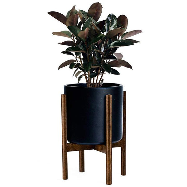 Mid Mod Wood Plant Stand, 10""