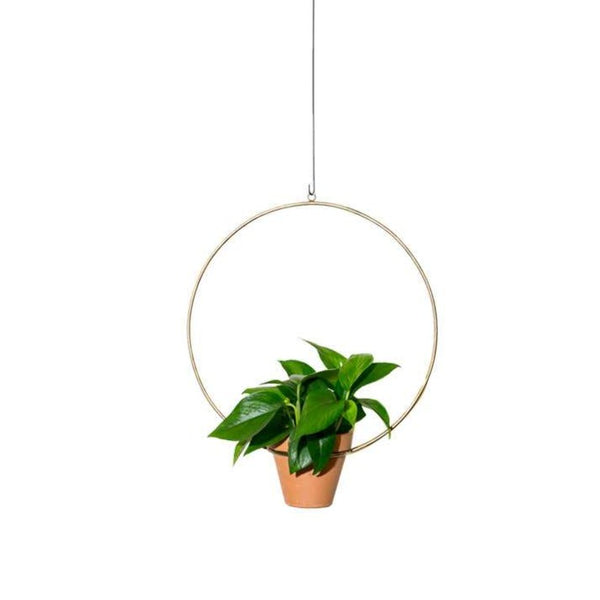 "NewMade LA: 10"" Hanging Circle Planter in Brass"