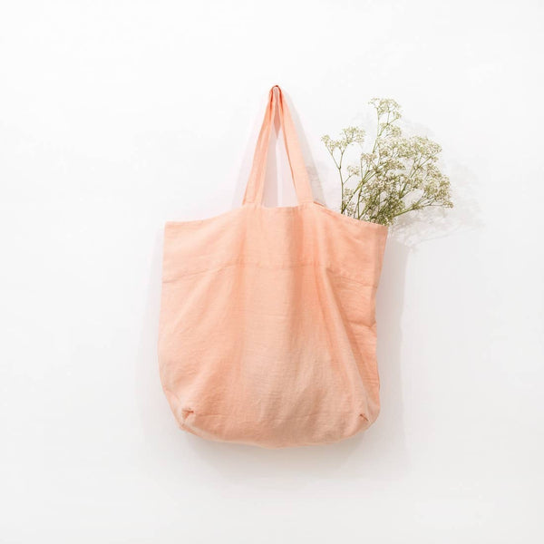Large Linen Tote in Blush