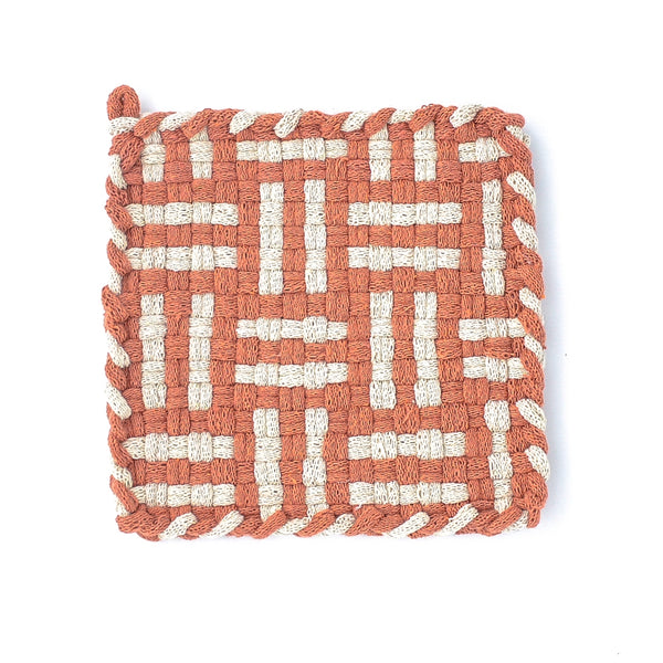 Kate Kilmurray: Handwoven Potholders in Forest Collection Spice & Flax