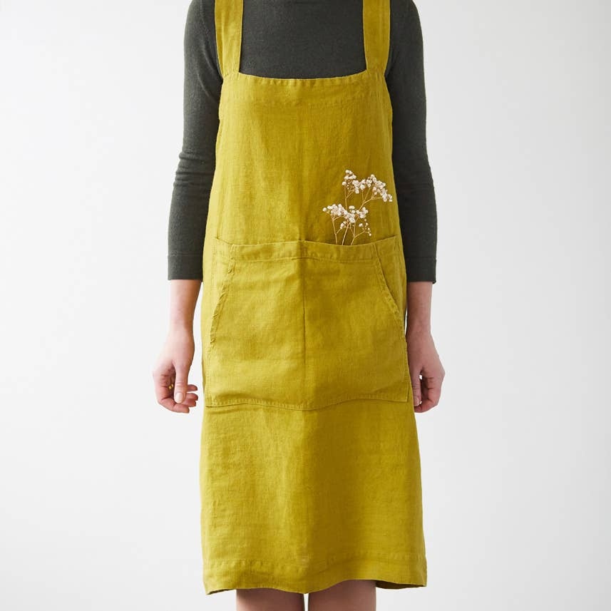 Pinafore Apron in Moss Green