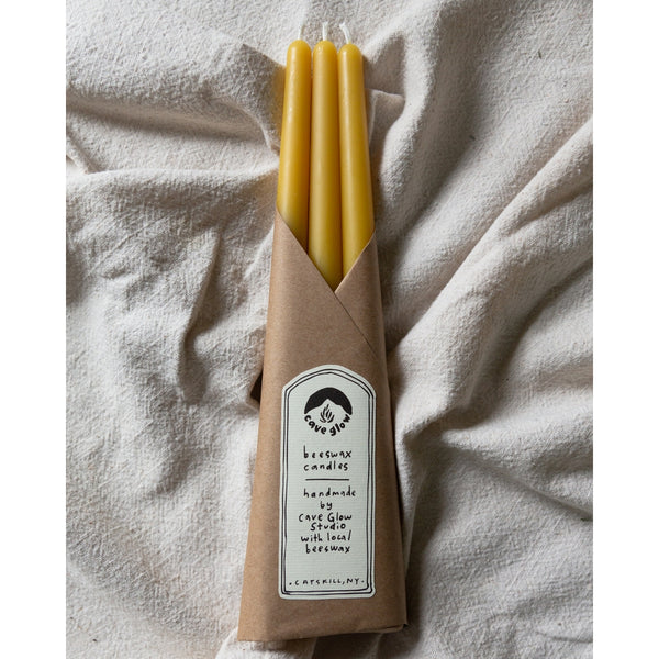 Cave Glow Studio: Pure Beeswax Taper Set of Three