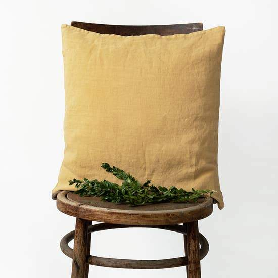 Washed Linen Pillow in Honey