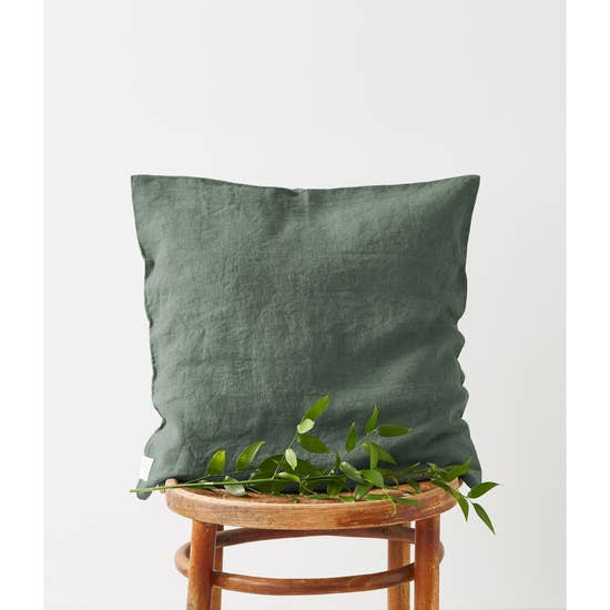 Washed Linen Pillow in Forest Green