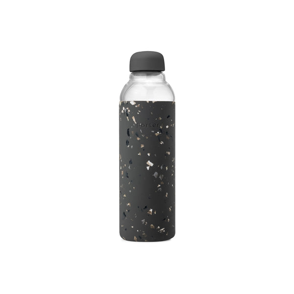 Porter Glass Water Bottle in Charcoal Terrazzo