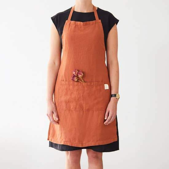 Linen Apron in Baked Clay