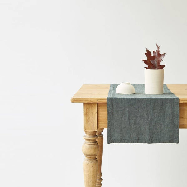 Linen Table Runner in Forest Green