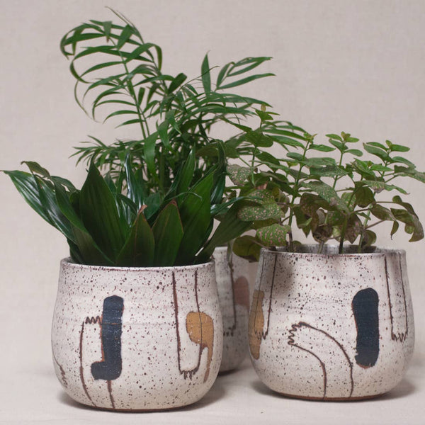Echeri Ceramics: Artisan Planter in Deep Blue & Mustard