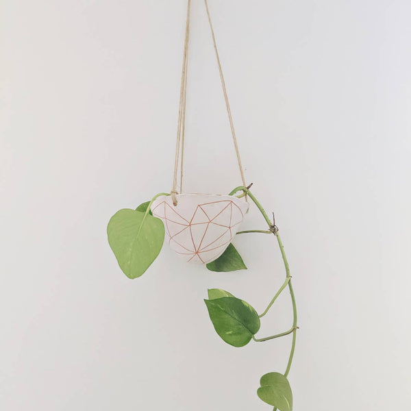 Geotriangle Hanging Planter in White + Terracotta