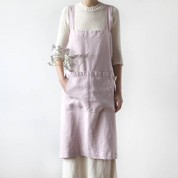 Pinafore Apron in Pink Lavender