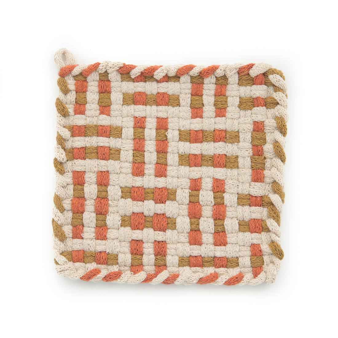 Kate Kilmurray: Handwoven Potholders in Deep Forest Collection Flax, Spice & Ochre