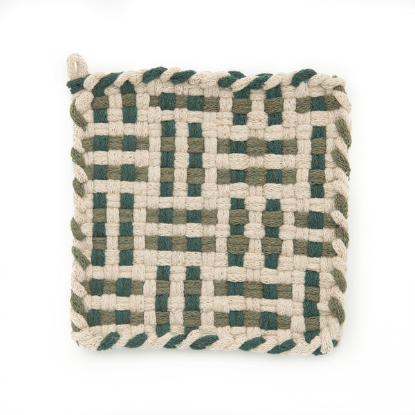 Kate Kilmurray: Handwoven Potholders in Deep Forest Collection Flax, Pine & Willow