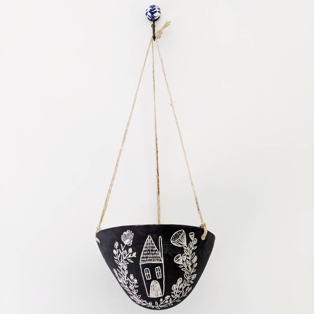 Folk Home Hanging Planter in Black + White