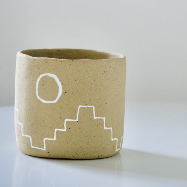 Kelsey Melville Ceramics: Southwest Planter in Goldstone