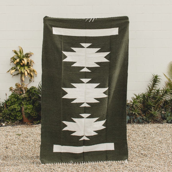 Petra De Luna: Palenque Blanket in Army Green
