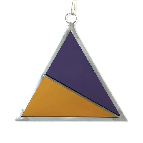 Debbie Bean: Stained Glass Triangle Ornament in Purple & Burnt Sienna