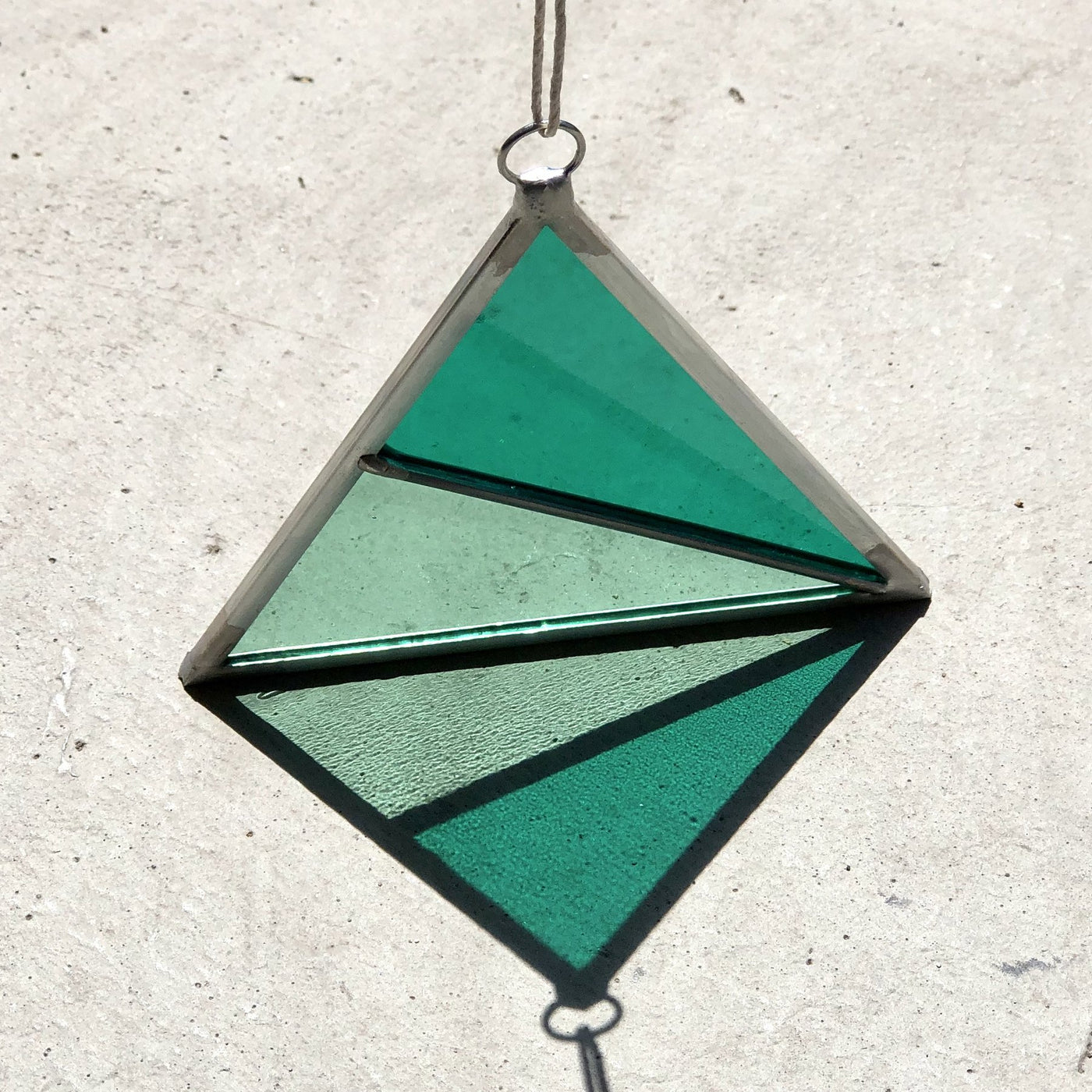 Debbie Bean: Stained Glass Triangle Ornament in Green / Green
