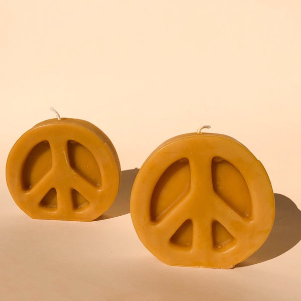 Peace Sign Beeswax Candle