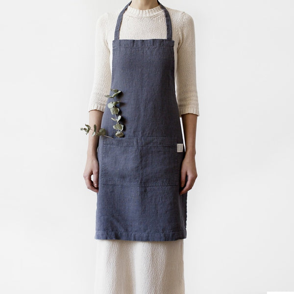 Linen Apron in Dark Grey