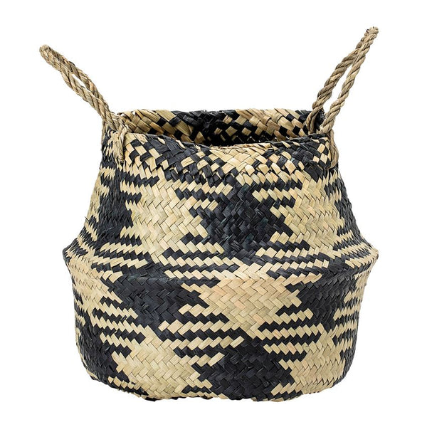 Seagrass Black & White Belly Basket
