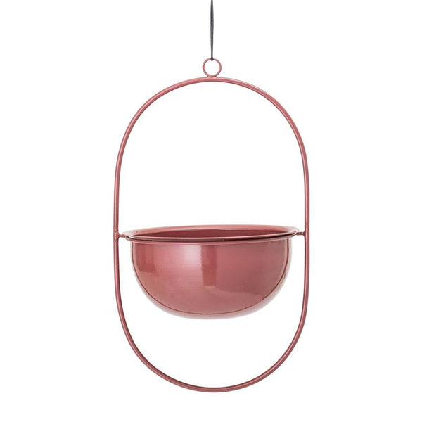 Hanging Enameled Planter in Rose